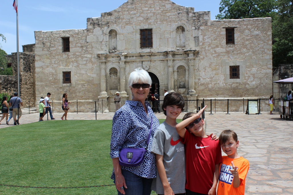 Grandma and the boys at The Alamo